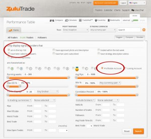ZuluTrade selection of traders